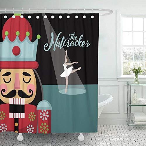 SYLZBHD Bunte Ankündigung Weihnachten Nussknacker Cartoon Holz Soldat Spielzeug aus dem Ballett Ballerina Duschvorhänge W90xH180cm