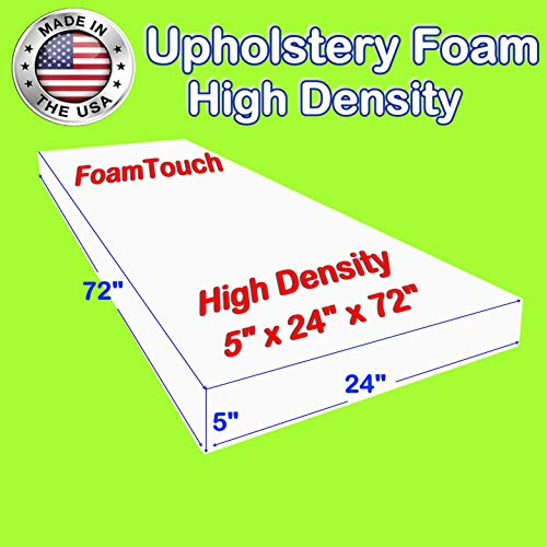 "FoamTouch Upholstery Foam Cushion High Density, Made in USA, 5"" H x 24"" W x 72"" L"