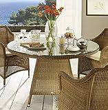 Destiny Tisch Sevilla Gartentisch 120 cm Rund Polyrattan Loom Optik Esstisch Geflechttisch