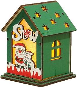 Amosfun Adornos navideños led casa de Madera árbol de Navidad decoración Colgante estatuilla para Fiesta con batería de botón (muñeco de Nieve Estilo Oldman)