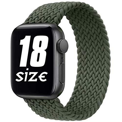Fengyiyuda Correa Solo Loop Trenzada Compatible con Correa Apple Watch 38/40/42/44mm,Soft Sport Reemplazo Elástica de Correa Nylon Compatible con iWatch Serie 6/5/4/3/2/1/SE,Verde Inverness,42-4