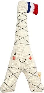 Meri Meri Eiffel Tower Baby Rattle - Soft Noise Shake Rattle - Knitted Organic Cotton