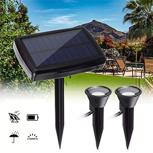 DENG XIA LED Solar Doppelstrahler Spot Licht Außen Garten Landschaft Kronleuchter Rasenlampe ideal für