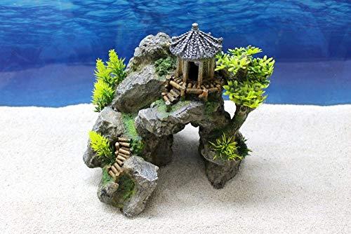Amtra Japan Tempel mit Felsen Dekoration Aquarium Deko Steine Felsen Garnelen Fische Dekofigur Dekosteine