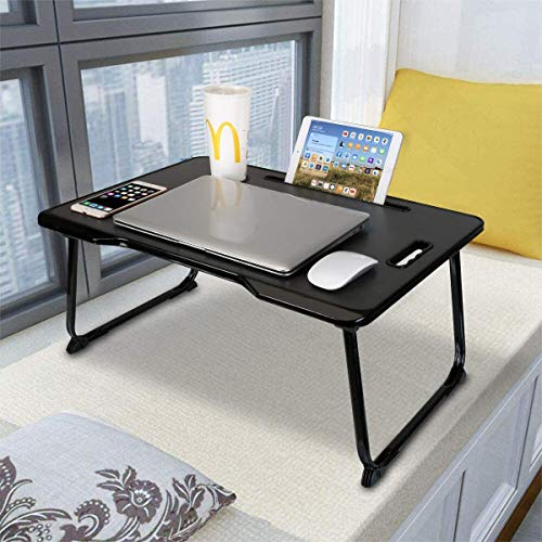 Laptop Desk With Handle, Astory Portable Laptop Bed Tray Table Notebook Stand Reading Holder with Foldable Legs & Cup Slot for Eating Breakfast, Reading Book, Watching Movie on Bed/Couch/Sofa (Black)