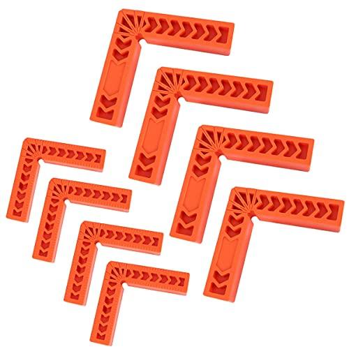 Xiuyer 8pcs Morsetto Angolo Retto Falegnameria Plastica 90 Gradi Righello Angolo Retto Piastre Posizionamento 90 Gradi Strumento Falegnameria (3 Pollici e 4 Pollici)