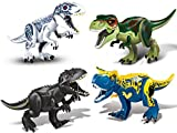 JVNVDS 4 Pack Large Jurassic Dinosaurs Large Dinosaur Toys Building Blocks Indominus Figure for Boys and Girls Ages 3+ - Educational Jurassic Dino Toys,T-Rex Indominus Carnotaurus Tyrannosaurus