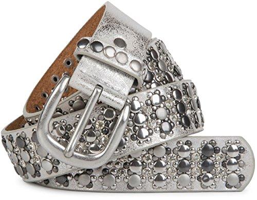styleBREAKER edler Nietengürtel im Vintage Design, Nieten und Strass, kürzbar, Damen 03010052, Farbe:Antik-Silber;Größe:105cm