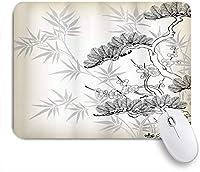 KAPANOUマウスパッド 日本のアジアンスタイルの竹の白樺と花の小枝の花びら松シルエット花柄アート ゲーミング オフィ良い 滑り止めゴム底 ゲーミングなど適用 マウス 用ノートブックコンピュータマウスマット
