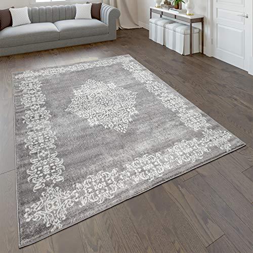 Paco Home Tapis De Salon Poils Ras avec Motif Oriental Moderne en Gris Blanc, Dimension:200x280 cm