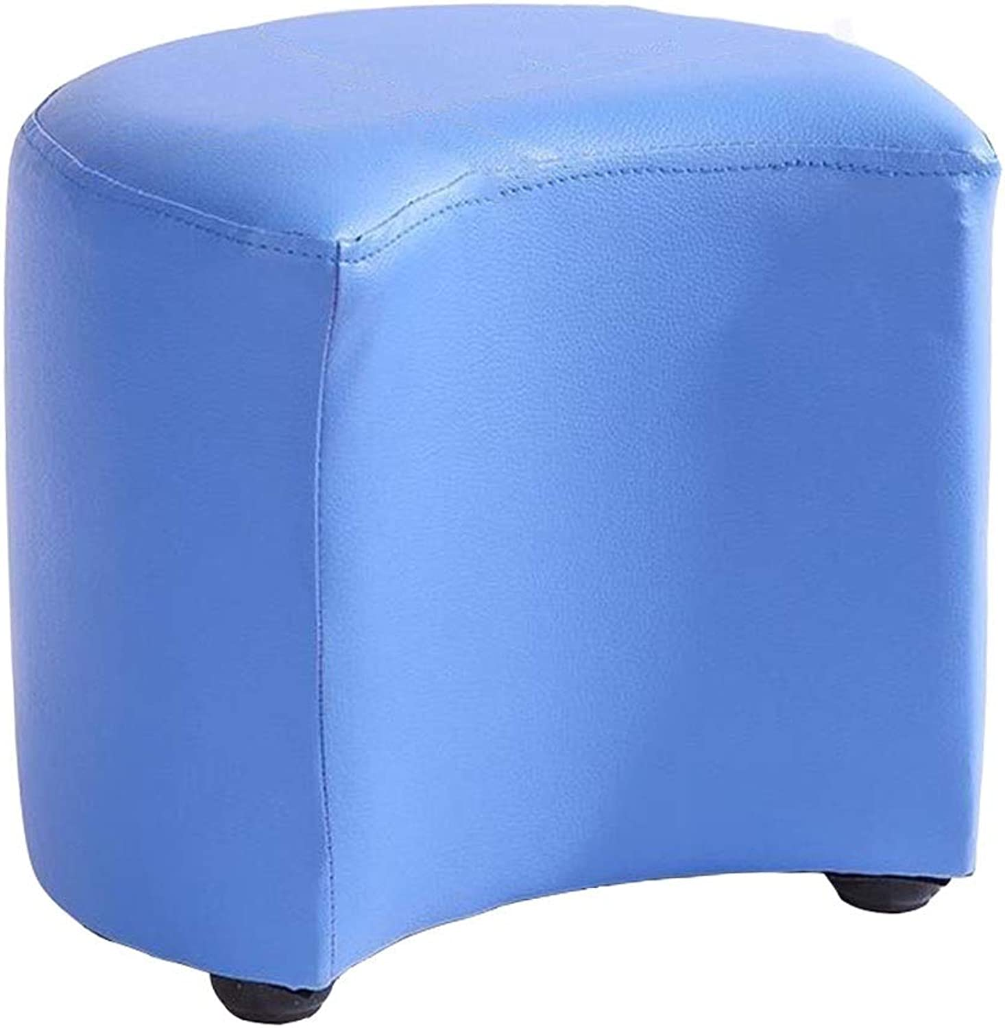 Dall Footstool shoes Bench Upholstered Modern Home Sofa Stool Wood Frame PU Seat Living Room,12 colors (color   bluee1, Size   31×21×18cm)