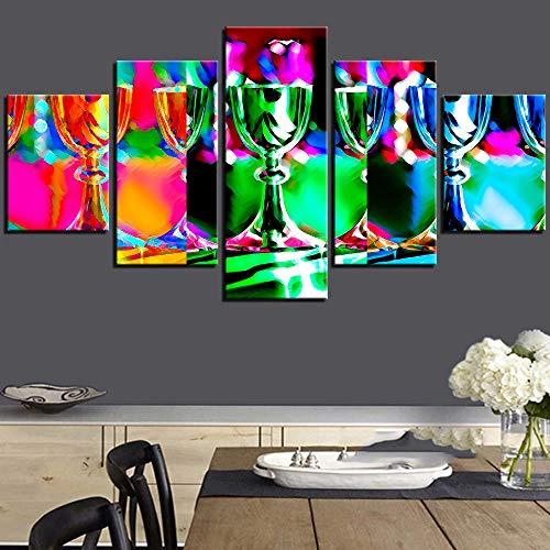 QZHSCYB Copas de Vino Pintura Colorida en Lienzo Fondos de Pantalla Abstractos Alcohol Cóctel Carteles Imágenes Bar Cocina Decoración de la habitación Arte -30x40 30x60 30x80cm (sin Marco)