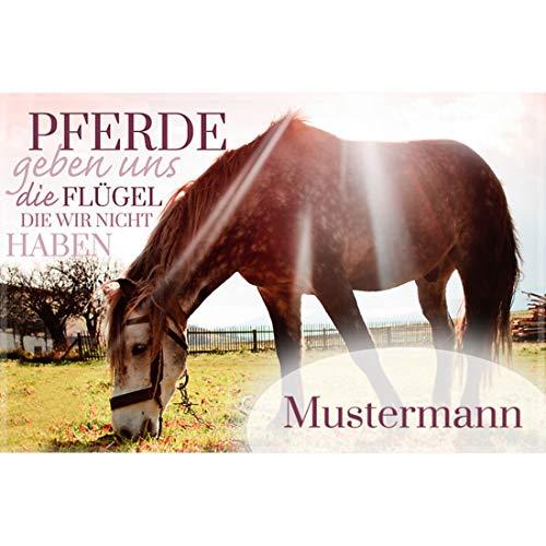 Manutextur Fußmatte mit Namen - Motiv Pferd - viele Motive - Schmutzfangmatte personalisiert - Größe 50x80 cm - persönliches & individuelles Geschenk
