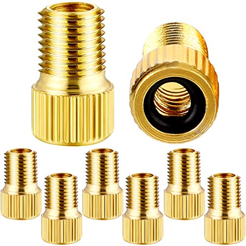 SAMIKIVA Brass (8 Pack) Presta Valve Adapter, Convert Presta to Schrader with O Ring Seal, French/UK to US, for Mountain Bikes, Heavy Duty Bike Accessories, Using Standard Pump or Air Compressor