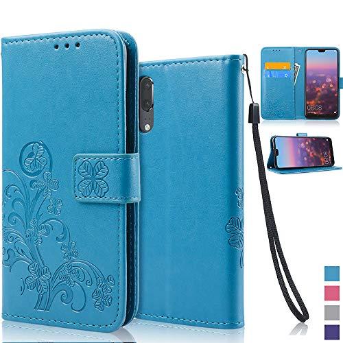 achoTREE Huawei P20 Hülle, Glückliche Blumen Handyhülle für Huawei P20 Schutzhülle, TPU und PU Leder Schale mit Magnetverschluss, Blau 5.8 Zoll