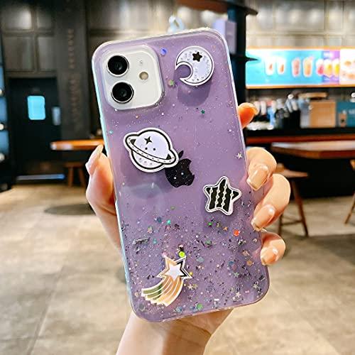 Nadoli Univers Bling Coque pour iPhone 13 Pro,Filles Femmes Mignon Beau Ultra-Mince Paillettes Souple Silicone TPU Transparente Étui Housse