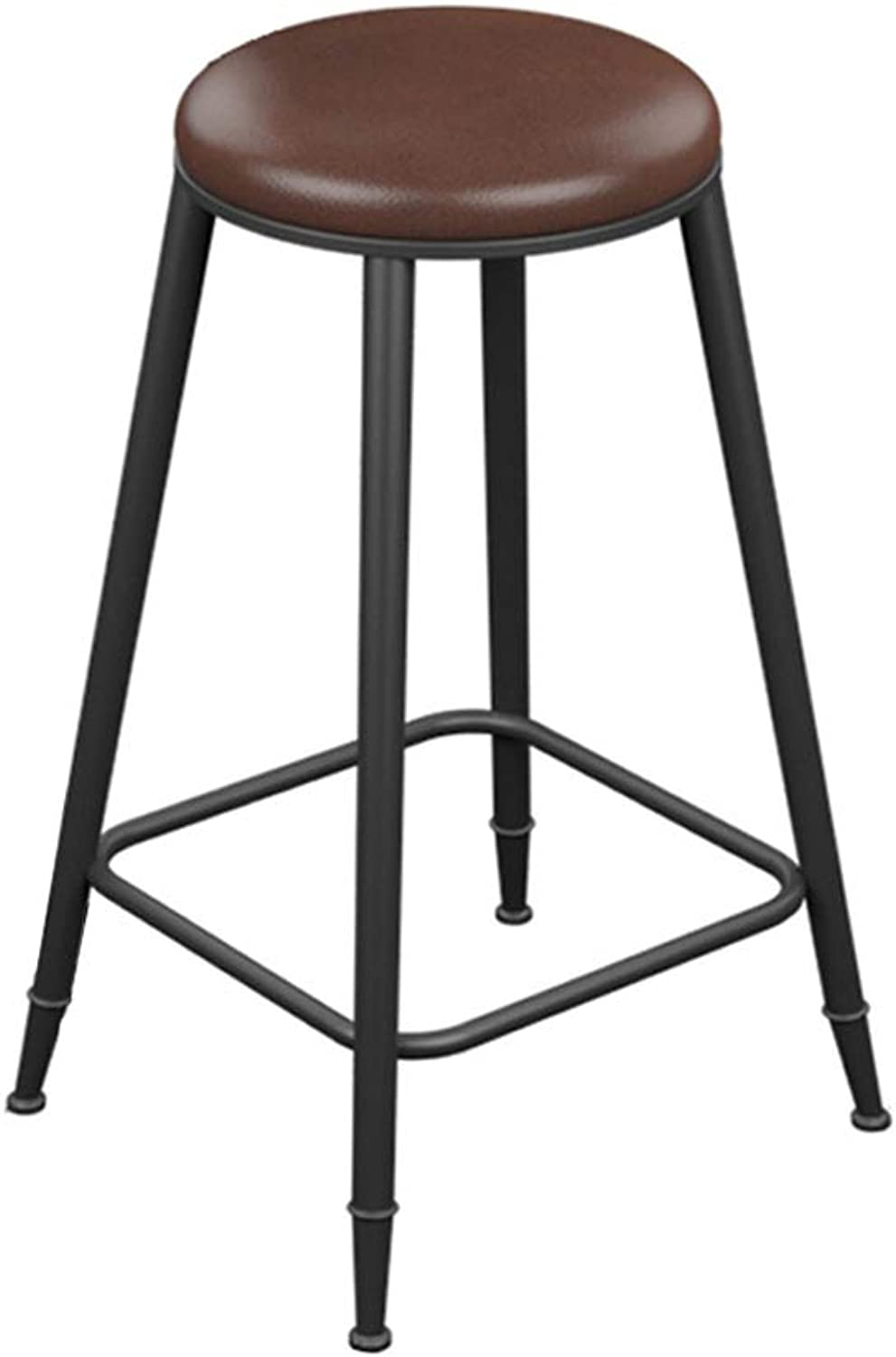 Barstools Counter Stool Bar Chair Pub Kitchen Breakfast Dining Chair Black Metal Frame Soft Round Seat Max Load 150kg (Size   45CM)