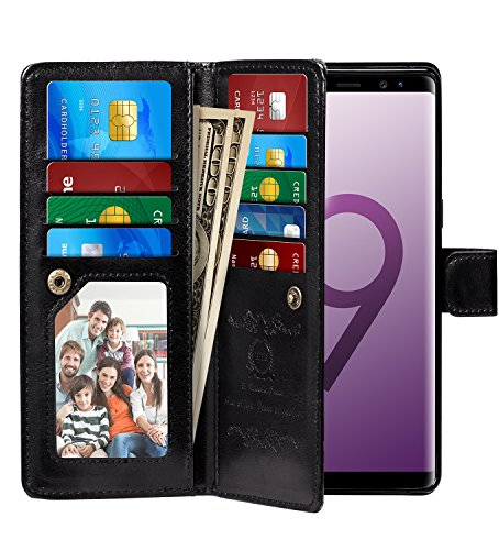 Galaxy S9 Case, Pasonomi Galaxy S9 Wallet Case with Detachable SlimCase - [Folio Style] PU Leather Wallet case with ID&Card Holder Slot Wrist Strap for Samsung Galaxy S9 (Black)
