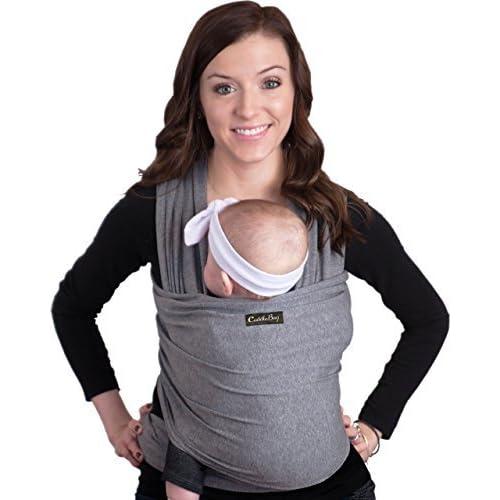 Porte bébé CuddleBug - écharpe de portage pour bébé - ENTIÃREMENT NATURELLE - Taille Unique - je porte mon bebe, porteur enfant, porteur bebe fille et garcon, porte bebe elastique, echarpe de portage noeud | emmaillotage bebe (gris)