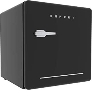 KUPPET Classic Retro Compact Refrigerator Single Door, Mini Fridge with Freezer, Small Drink Chiller for Home,Office,Dorm, Small beauty cosmetics Skin care mask refrigerated for home,1.6 Cu.Ft (Black)