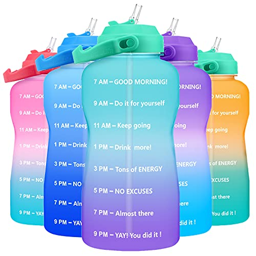 QuiFit 1 Gallon Water Bottle - with Motivational Time Marker & Straw Leakproof Tritan BPA Free 128oz Large Capacity Water Jug for Fitness, Gym and Outdoor Sports(Green/Purple)