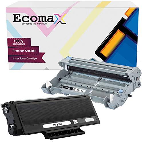 Ecomax Toner und Bildtrommel kompatibel zu Brother TN-3280 DR-3200 HL-5340DN HL-5350DN HL-5370DW DCP-8080DN MFC-8380DN MFC-8370DN 8880DN 8890DW - Toner 8.000 und Trommel 25.000 Seiten