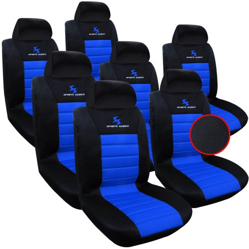 WOLTU AS7256-7 7er Sitzbezüge Auto Einzelsitzbezug universal Größe, Komplettset, blau