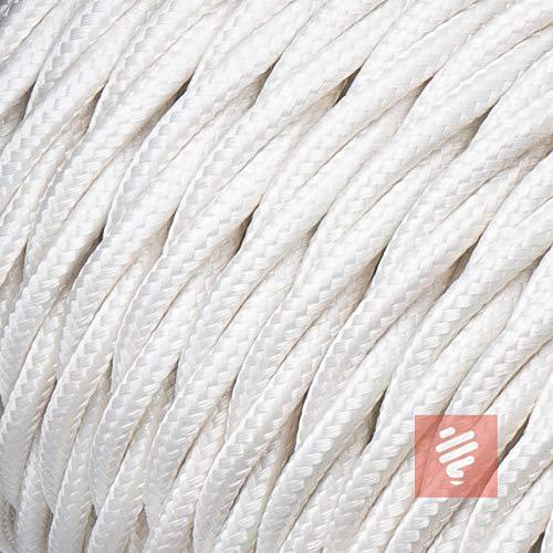 Textilkabel für Lampe, verseilt (geflochten), dreiadrig - 3x0,75mm², Elfenbein (Weiß) - 5 Meter