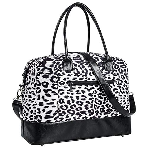Weekend Bag for Women Leopard Travel Duffle Carry on Bags Overnight Tote with Zipper Luggage Sleeve black Size: L