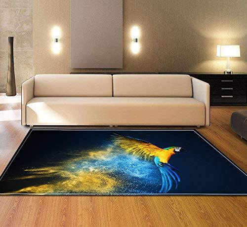 VBUEFM Wollteppich Schwarzer gelber Blauer Tiergekritzelpapagei Kurzflor-Designer Teppich extra weich Naturfaserteppich fürs Wohnzimmer,Outdoor,Schlafzimmer,Esszimmer oder Kinderzimmer 120 x 170 cm