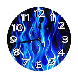 NA Round Wall Clock Desk Clock Novelty Blue Flame 3D Printing Printed for Indoor/Bathroom/Kitchen/Classroom Decor Quiet Digital Battery Operated 9.84 Inch