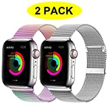 YC YANCH 2 Pack Compatible for Apple Watch Band 38mm 40mm, Adjustable Stainless...