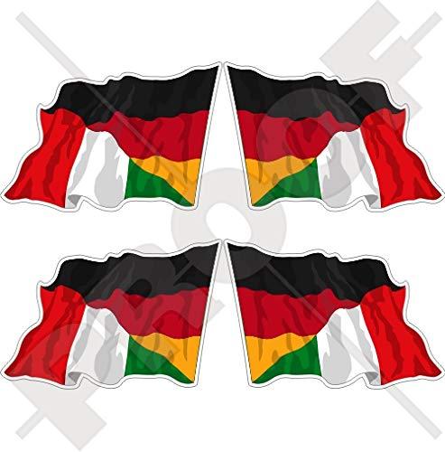 DEUTSCHLAND-ITALIEN Deutsch-Italienisch Wehende Flagge 50mm Auto & Motorrad Aufkleber, x4 Vinyl Stickers (Links - Rechts)