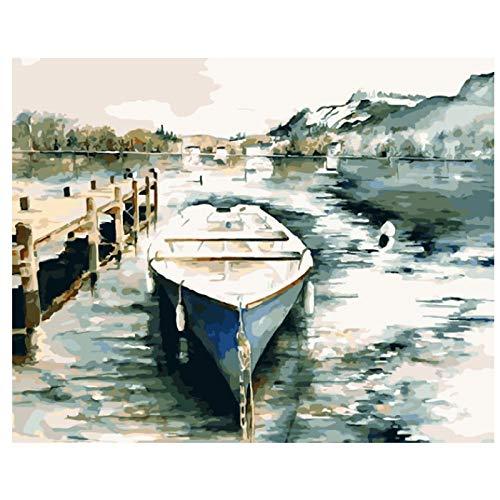 Hanzeze Malen Nach Zahlen Gemaltes Segelboot DIY für Erwachsene Leinwand Ölgemälde Set Anfänger Malen mit Bürsten und Acrylfarben Home Dector Geschenk 40x50cm Rahmenlos