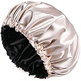 Satin Bonnet Sleep Bonnet Cap - Extra Large, Double Layer, Reversible, Adjustable Satin Cap for Sleeping Hair Bonnet(X-Large,Champagne)