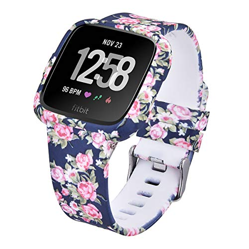 CAGOS Compatible with Fitbit Versa/Versa 2/Versa Lite Bands Women Men, Silicone Straps Replacement Accessories Wristbands with Protective Case for Fitbit Versa Smartwatch (Midnight Blue Rose, Small)