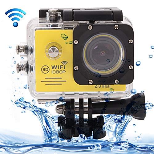WWTTE SJ7000 Full HD 1080P 2.0 pulgadas pantalla LCD Novatek 96655 WiFi cámara de videocámara deportiva con funda impermeable, lente gran angular HD de 170 grados, 30 m (negro) L (color amarillo)