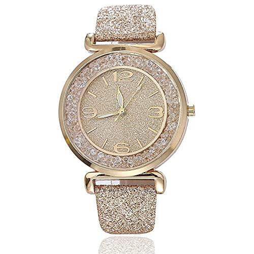 Ladies Watch Ladies Analog Quartz Watch Simple Dress Watch Ladies Watch Quicksand Rhinestone Watch (Color : Red)