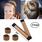 Aisonbo Hair Bun Maker, Size 5.9 inch Magic Bun Shaper Donut Hair Styling for Kids Curler Roller Dish Headbands Brown,3 Pack