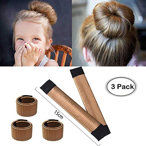 Aisonbo Hair Bun Maker, Size 5.9 inch Magic Bun Shaper Donut Hair Styling for Kids Curler Roller Dish Headbands Brown,3 Pack