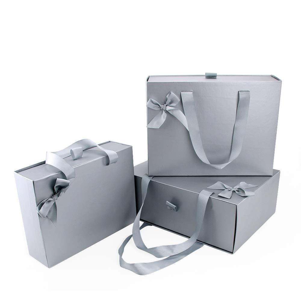 VEESUN Cajas de Regalo, 3pcs Grandes Cajón Cartón Bolsas de Regalo Caja de Papel Kraft con Manejar, Papel de Regalo para Aniversario Boda Fiesta Comunion Navidad San Valentín Año Nuevo, Gris: Amazon.es: