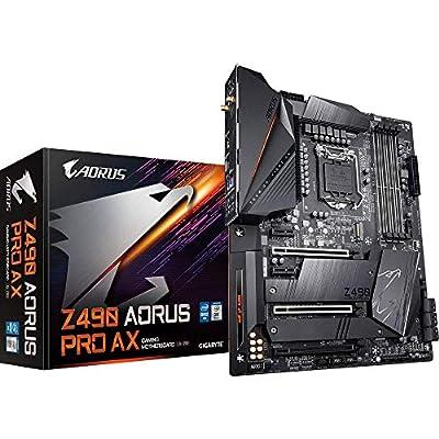 GIGABYTE Z490 AORUS PRO AX intel LGA 1200 ATX Motherboard (12+1 Phases, Intel WiFi 6 802.11ax, Intel 2.5GbE LAN, HDMI, USB 3.2 Gen 2, Type-C, RGB FUSION 2.0)
