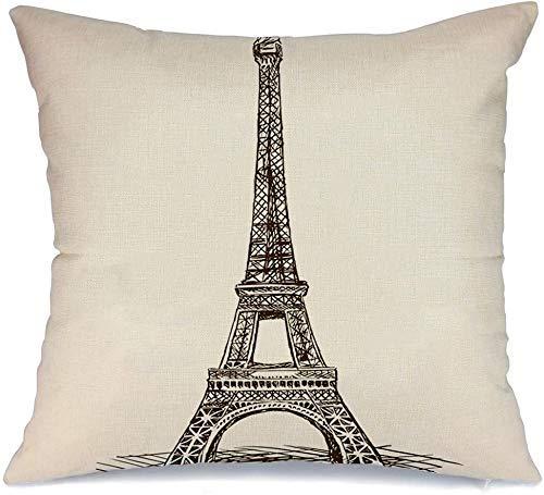 Decoración Throw Pillow Cover Funda de cojín Brown Paris Eiffel Tower Sketch Raster Old Engraving Imitación Varios Grabado en madera Pluma antigua Funda de Cojine 45 X 45CM