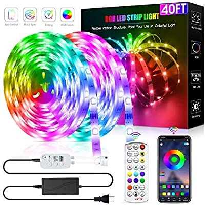 Led Strip Lights 40 Feet,DZFtech 5050 Led Type Color Changing Led Lights Strip App Control and Synchronization with Music, Led Lights for Bedroom, Room and Home Decoration