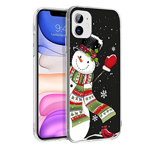"""cocomong Snowman Phone Case Compatible with iPhone 11 Case Christmas Cover for iPhone 11 Case for Girls Men, Holiday Cute Winter Gifts for Women Soft Slim Thin Clear TPU Protective Shockproof 6.1"""""""