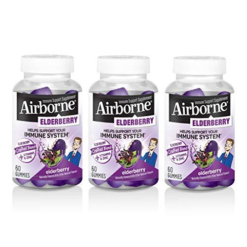 Airborne Elderbery Gummies (60 Ct), Gluten-Free Immune Support Supplement with Vitamins C, D & E (Pack of 3)