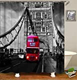Fansu Duschvorhang Wasserdicht Anti-Schimmel Anti-Bakteriell, 3D Drucken 100prozent Polyester Bad Vorhang für Badzimmer mit C-Form Kunststoff Haken (London,180x200cm)