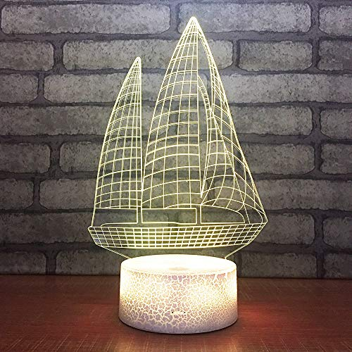 3D Optical Illusion Lamp Classic Sailing Boat Led Night Light 7 Color Change USB Touch Night Light Table Lamp Birthday Gift Child Bedroom Sleep Lighting Lamp Family Party Decoration