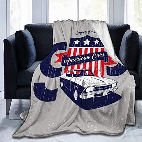 KOSALAER Bedding Manta,American Cars Gris Rojo,Mantas cálidas de Sala de Estar/Dormitorio Ultra Suaves para Todas Las Estaciones