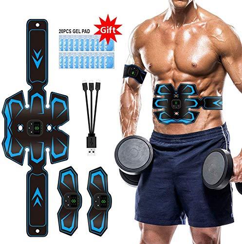 Electroestimulador Muscular Abdominales EMS Estimulador Abdominales USB 3 in 1 Recargable Estimulación Muscular Masajeador Eléctrico con 20 Pcs Parches de Gel Reemplazables
